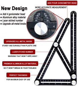 LUCKYYAN Multi-Angle Measuring Ruler Universal Angularizer Template Tool Aluminium Alloy Angularizer Ruler Layout Tool